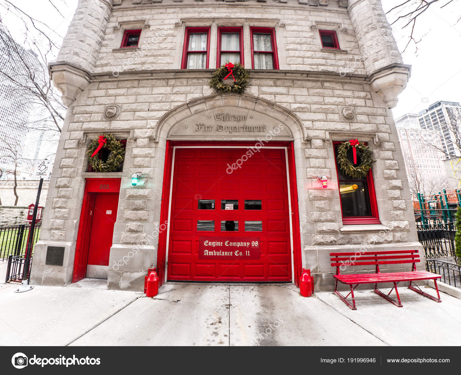 Chicago February 28th 2018 Iconic Two Story Limestone Chicago Fire