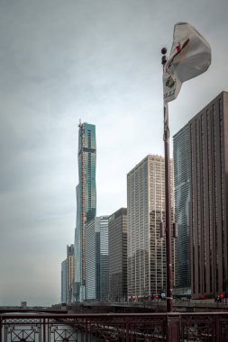 Chicago, IL - March 24th, 2020: Construction continues on Vista Tower skyscraper along the river downtown amidst the COVID-19 or Coronavirus outbreak and pandemic.
