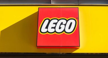 Lego logo on a store front