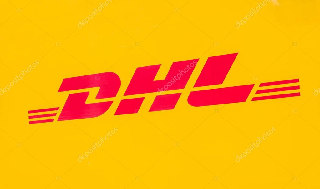yellow dhl logo on a truck stock editorial photo rclassenlayouts 178728472. Black Bedroom Furniture Sets. Home Design Ideas