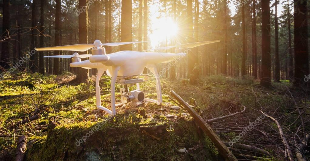 drone quad copter in the forest
