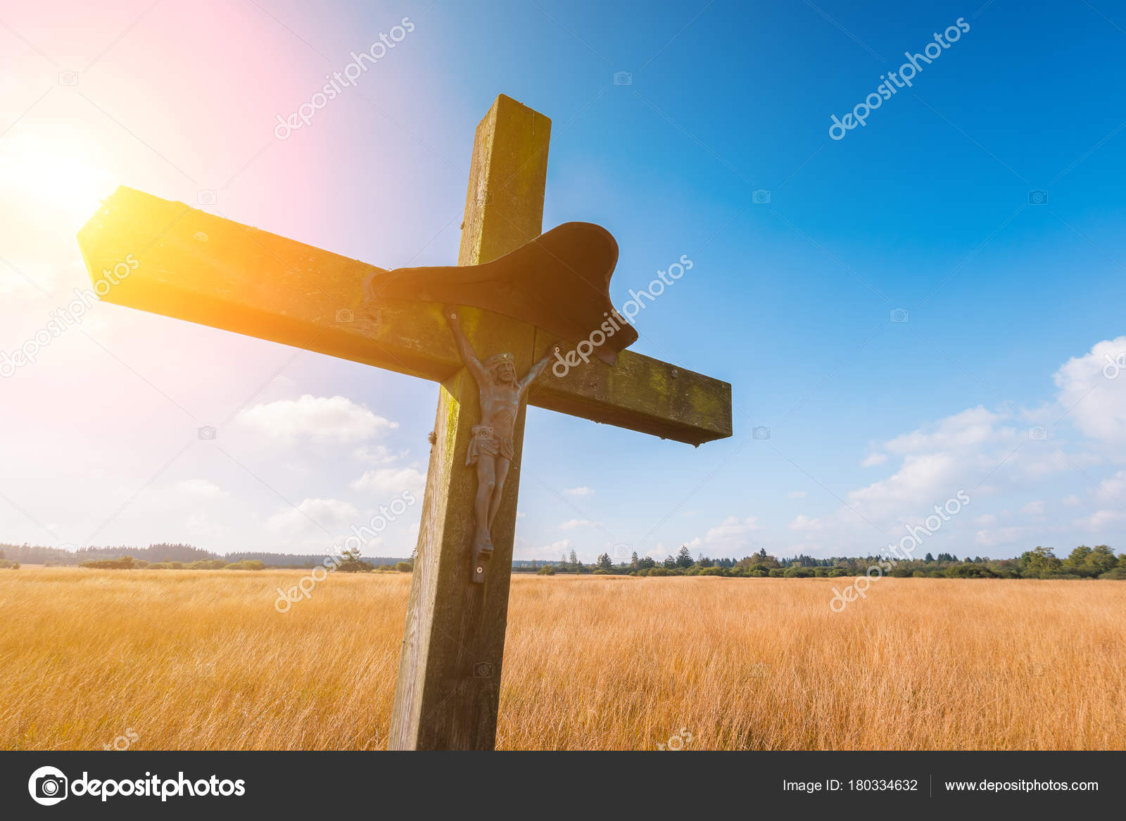 Wooden Cross Religion Symbol At A Hiking Trail In Belgium Hohes