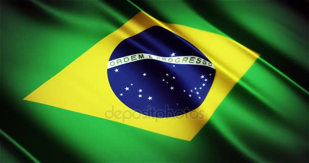 Brazil realistic national flag seamless looping waving animation