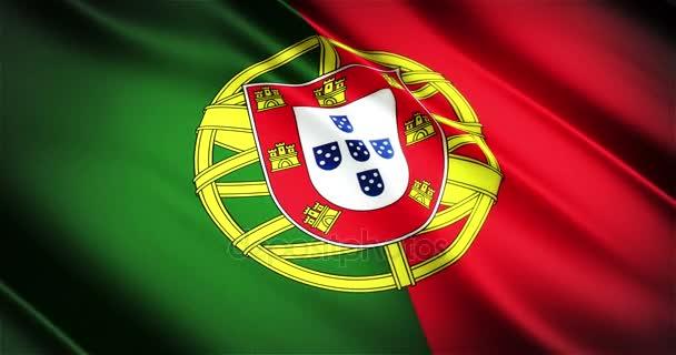 Portugália reális nemzeti zászló varrat nélküli hurok a hullámzó animáció