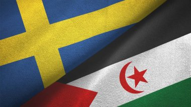 Sweden and Western Sahara two flags textile cloth, fabric texture