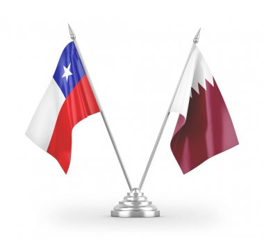 Qatar and Chile table flags isolated on white background 3D rendering