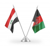 Afghanistan and Iraq table flags isolated on white background 3D rendering