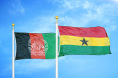 Afghanistan and Ghana  two flags on flagpoles and blue cloudy sky background