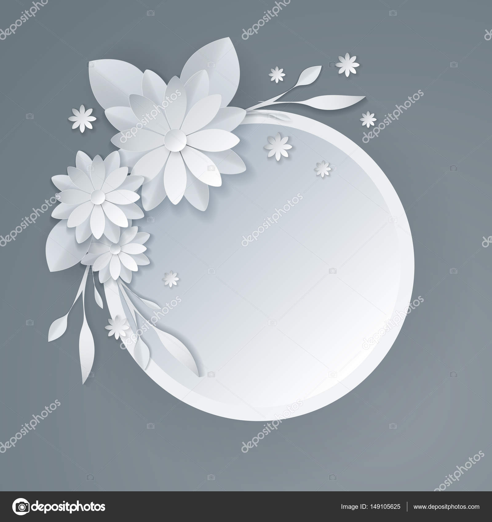 White Paper Flowers Floral Background Stock Vector C Totallyblond