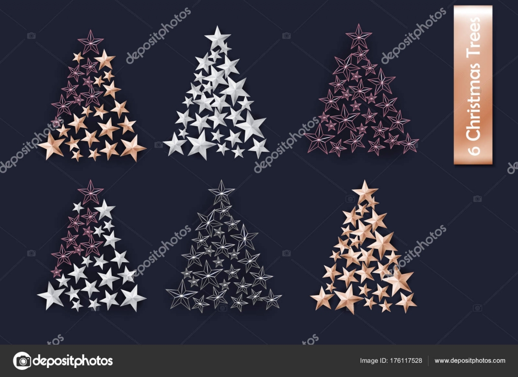 Rose Gold And Silver Christmas Tree.Set Of Rose Gold Gold Silver Christmas Tree Of Cutout Star
