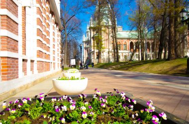MOSCOW, RUSSIA - April, 2019: Tsaritsyno estate in spring day