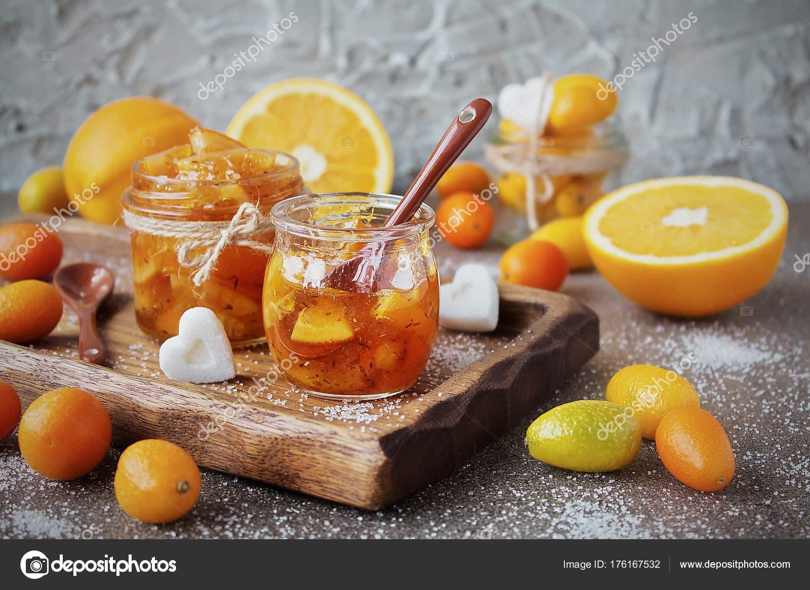 Homemade Marmalade Oranges Glass Jar Fresh Orange Kumquats Gray Granite — Stock Photo