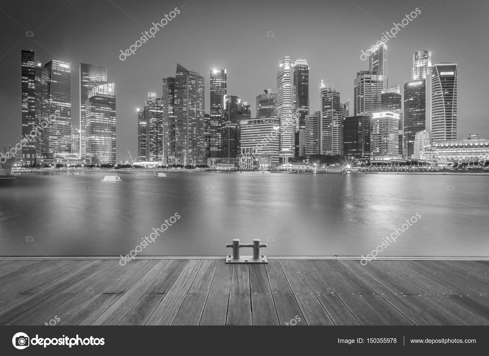 Landscape of the singapore financial district and business building black and white stock photo