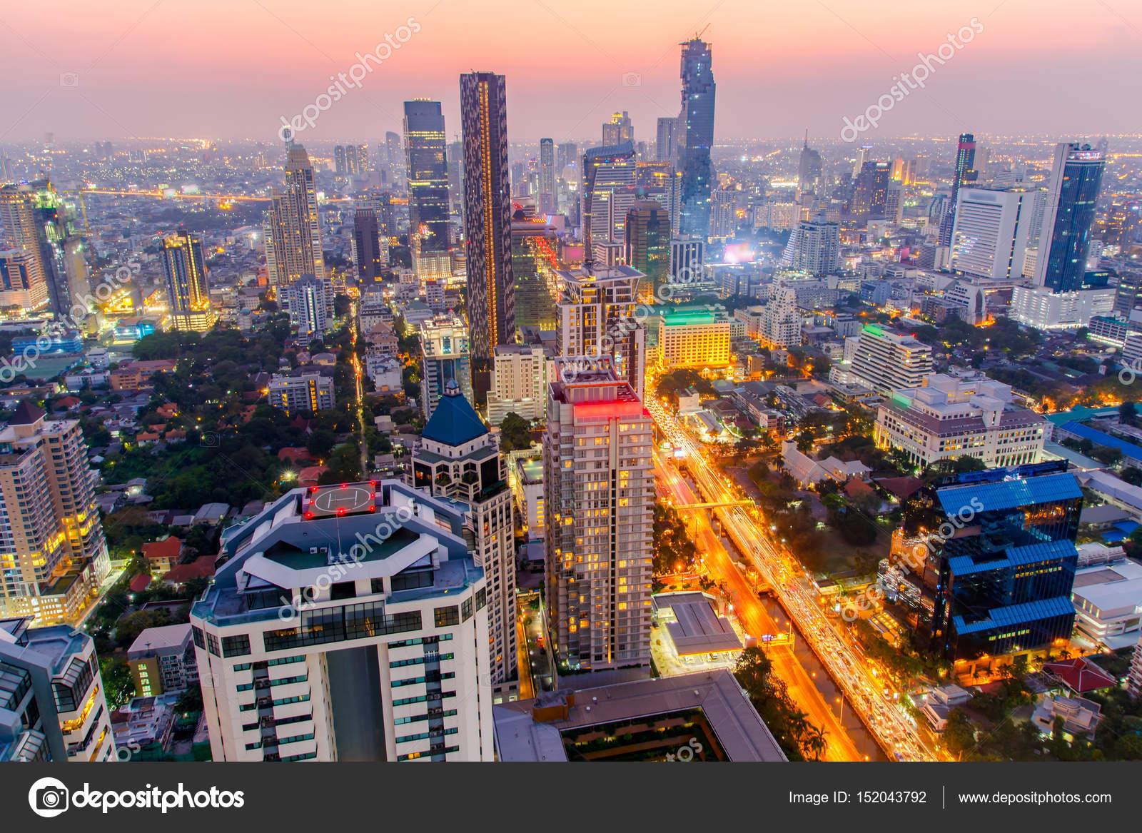 Fotos Ciudad Nocturna Ciudad De Bangkok En La Colorida Vida