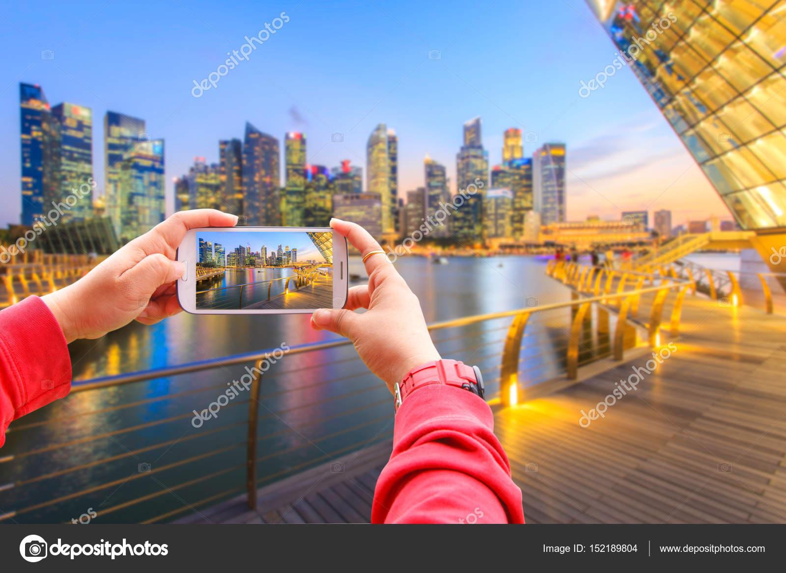 Fotografía de paisaje del distrito financiero de Singapur y el ...