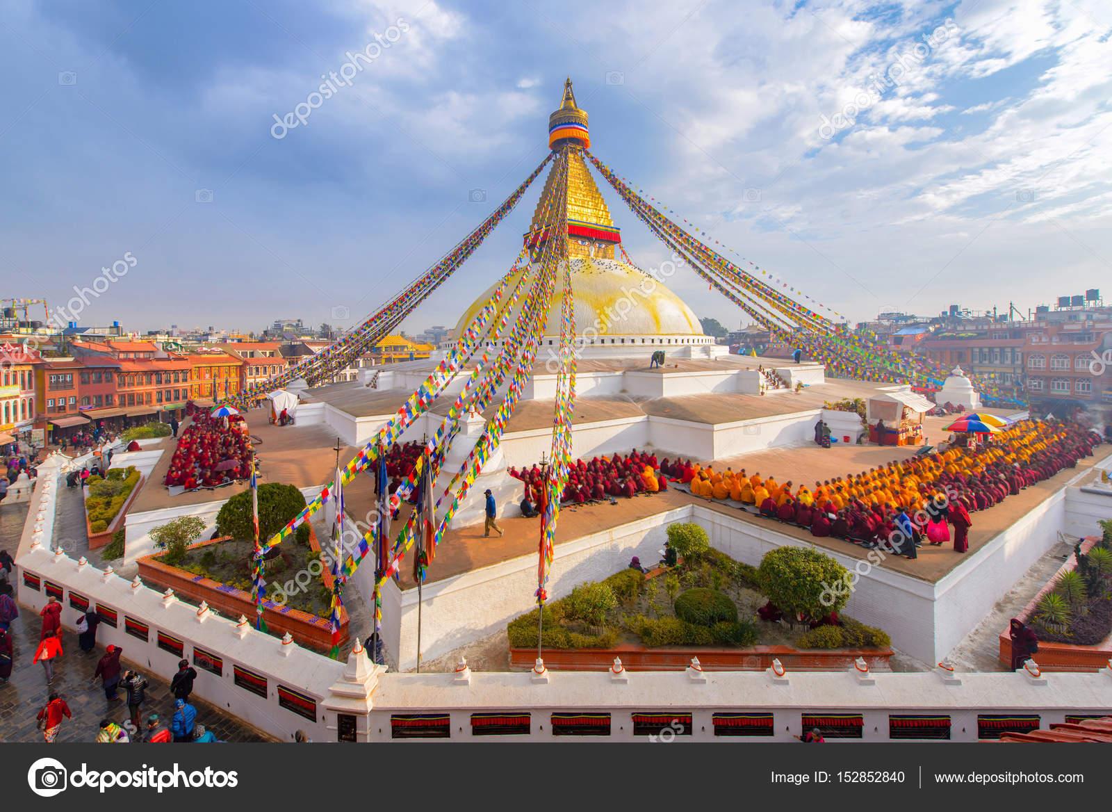 beautiful of boudhanath stupa in morning time at kathmandu, nepal