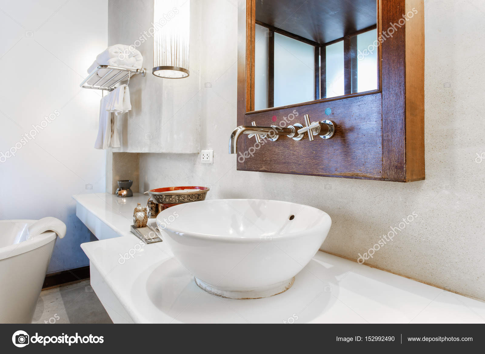 Modern Marble Wash Hand Basin In A Restroom Or Hotel Bathroom With  Toiletries And Fresh Clean