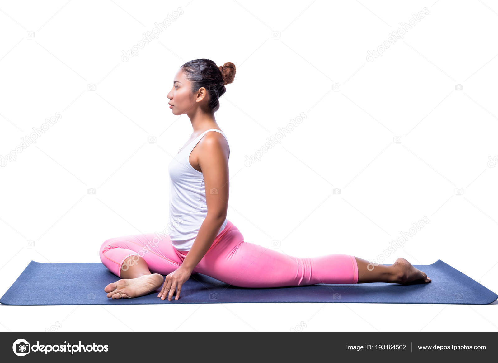 Young Indian Woman Yoga Pose White Clothes Isolated White Background Stock Photo C Southtownboy 193164562