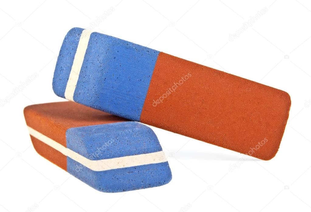 Two erasers isolated on white background