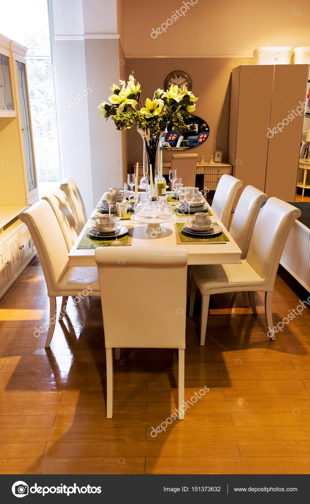 dining table and comfortable chairs in home with elegant table ...