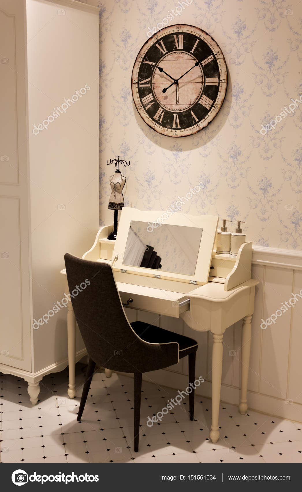 Corner Dressing Room Dressing Table Vanity Corner For Small Space In Room Vintage Design Interior Stock Photo C Princeoflove 151561034