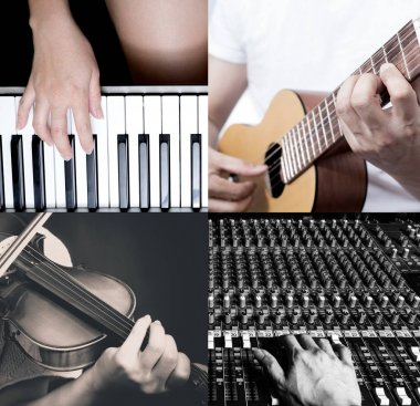 four part of music lesson. piano, guitar, violin and recording studio