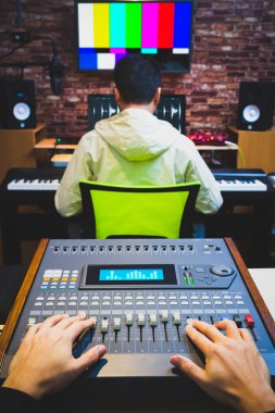Sound engineer & music producer working in digital editing studio, post production, broadcasting, recording concept stock vector