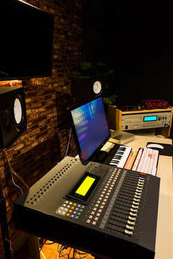 Digital audio video recording, editing & broadcasting studio in modern loft style interior