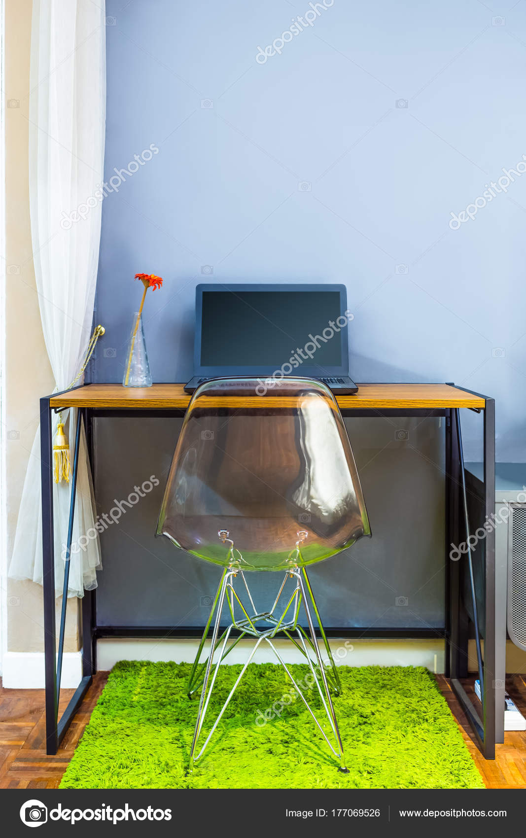 Image of: Laptop Computer Wooden Table Modern Style Chair Small Space Living Stock Photo C Princeoflove 177069526