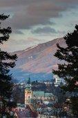 Fotografie Pohled starého města Banská Bystrica mezi borovicemi