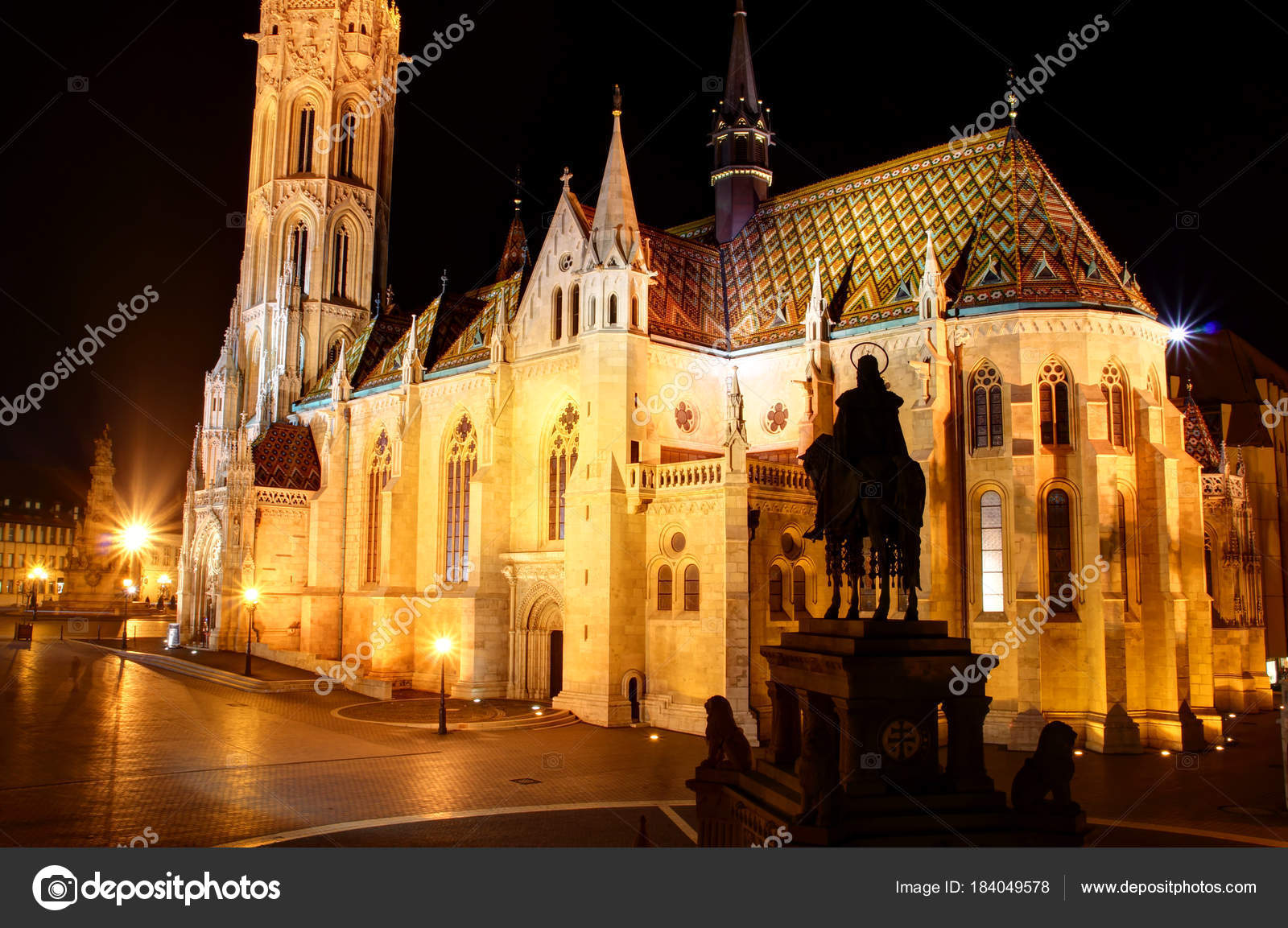 Gothic Matthias Church At Night In Buda Castle Budapest Hungary Stock Photo