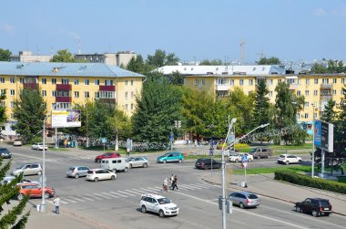 Barnaul, Russia, August, 17, 2016. Crossing the Socialist (Sotsialistichesky) Avenue and street Youth (Molodyozhnaya) in the city of Barnaul in the summer