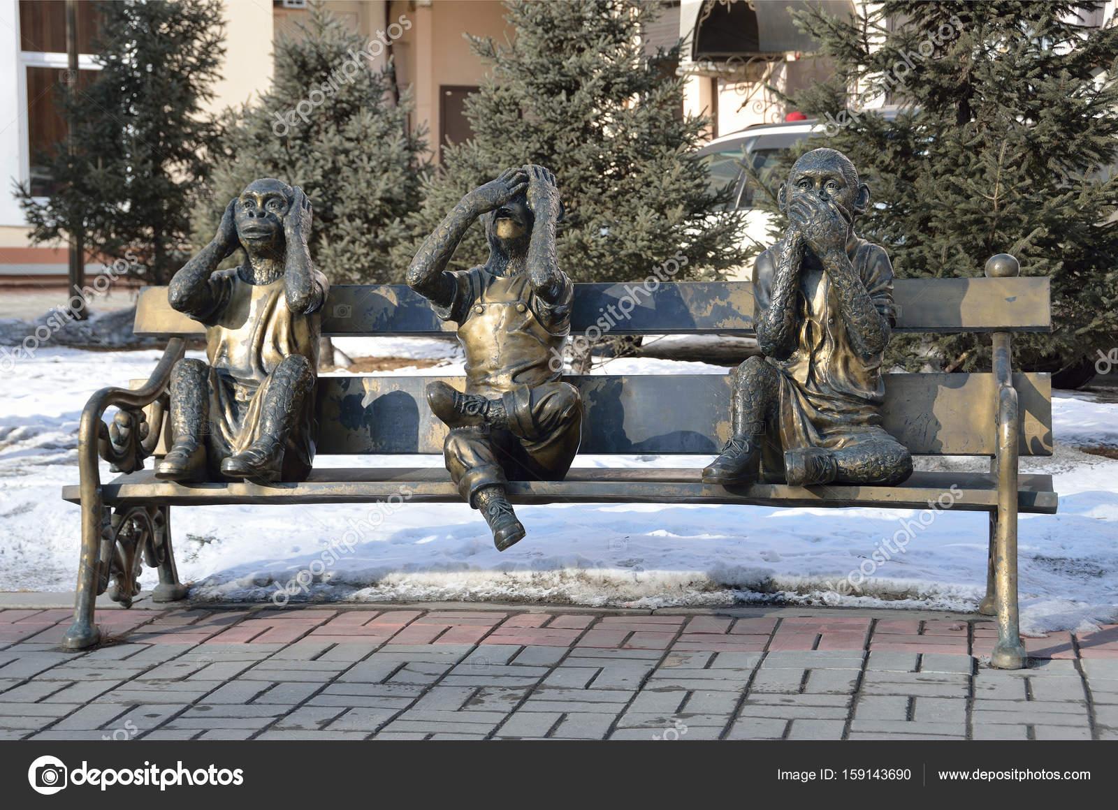 Irkutsk Russland März 2017 Die Skulptur Der Drei Affen