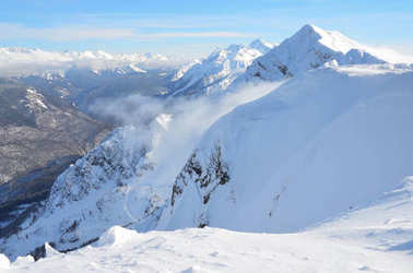 Sochi, Russia, mountain landscape, views of the Aibga Ridge. The ski resort of Krasnaya Polyana