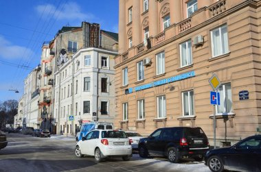 St. Petersburg, Russia, February, 27, 2018. Cars parked on Gangutskaya street in winter