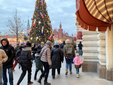 Moscow, Russia, December, 21, 2019. People walking on Red square during the festival