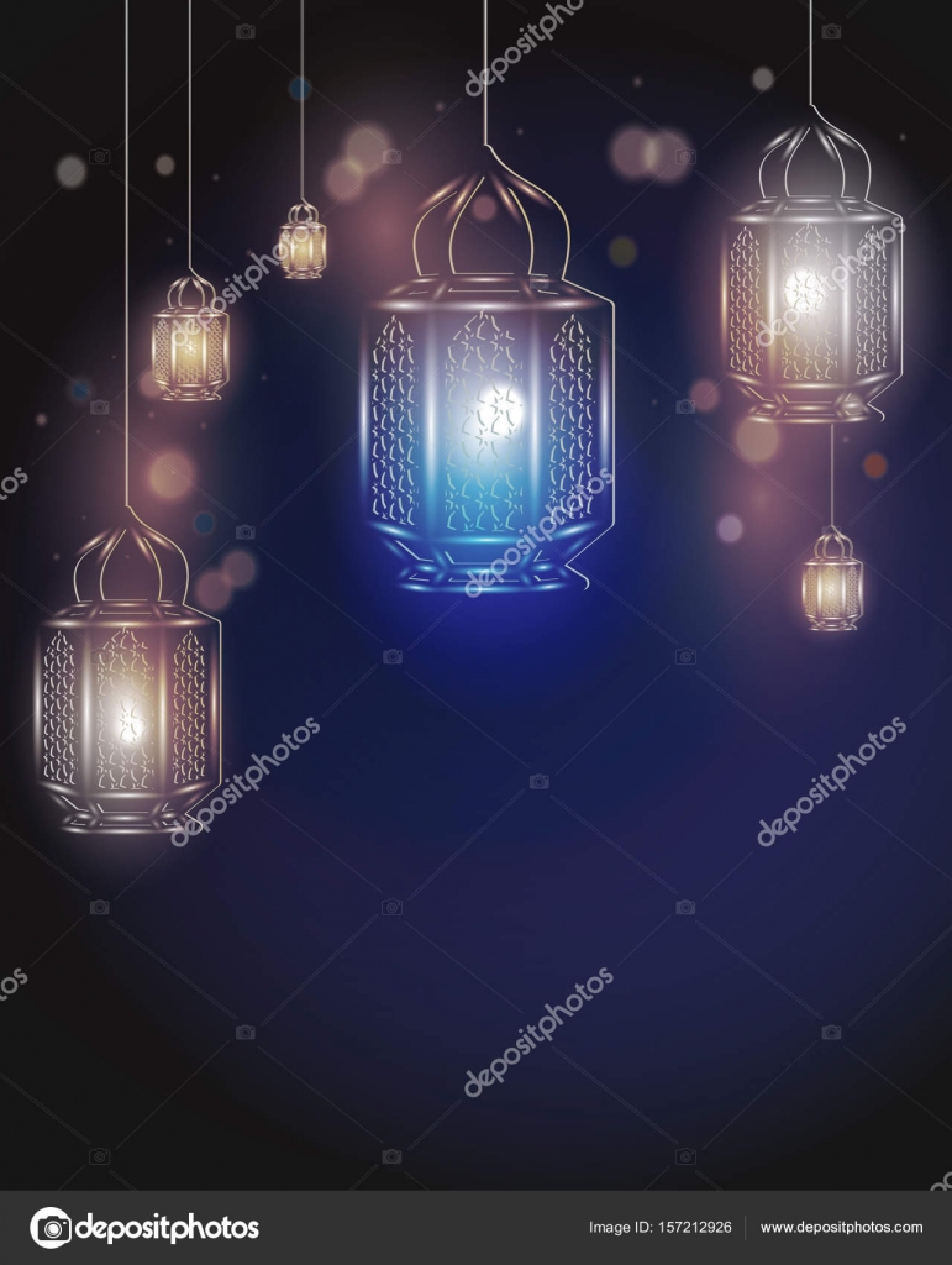 Eid Mubarak Greeting Card Template With Arabic Lamps For Ramadan