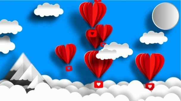 Cartoon sky Background. Paper balloons, clouds, mountains. Seamless loop