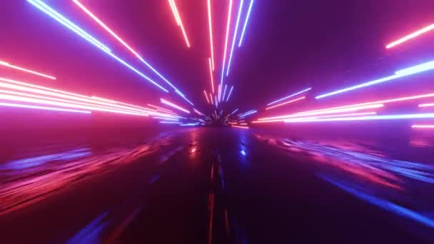Vodorovně zářící čáry se pohybují v prostoru. Abstraktní fluorescenční pozadí. Hyperprostor. Neonové pozadí. Animace smyčky 4k.