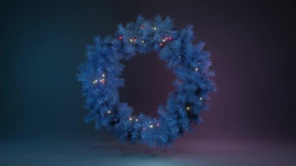 Vánoční věnce z modrých větví vánočních stromků a žárovek rotujících ve vesmíru na neonovém pozadí. Vánoční pozadí. Nový rok2020. 3D smyčka 4k animace