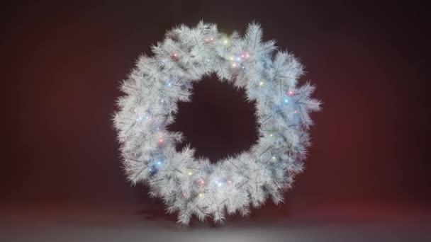 Vánoční věnce z bílých větví vánočních stromků a cibulí rotujících ve vesmíru na neonovém pozadí. Vánoční pozadí. Nový rok2021. 3D smyčka 4K animace