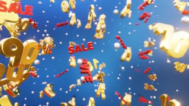 3D-Hintergrund zum Verkauf 10% -90%. hellen Hintergrund zum Verkauf. Goldvolumen Schriftzüge 10-90% und Verkauf fallen im Raum. Loop 4k Animation.