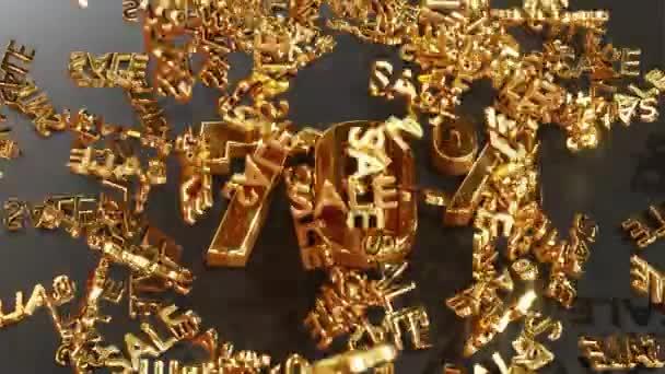 Der goldene Schriftzug SALE fällt und prallt vom Schriftzug 70%, siebzig% ab. Realistische 3D-4K-Animation.