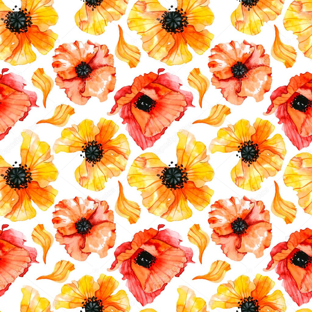 pattern with yellow and red poppies