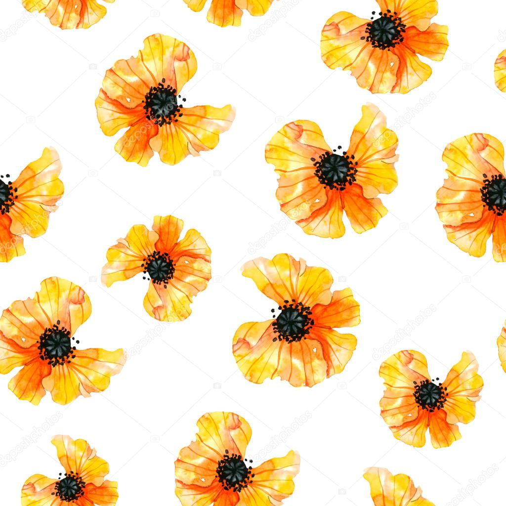 pattern with watercolor yellow poppies
