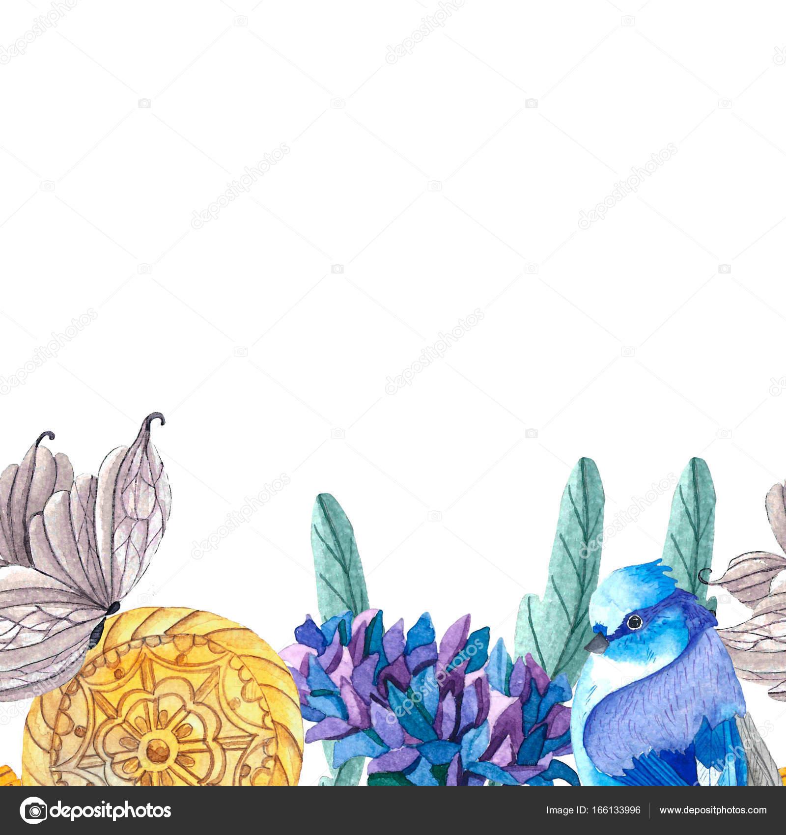 Rahmen der Schmetterlinge, Vögel, Blumen — Stockfoto © Lia.N.P ...