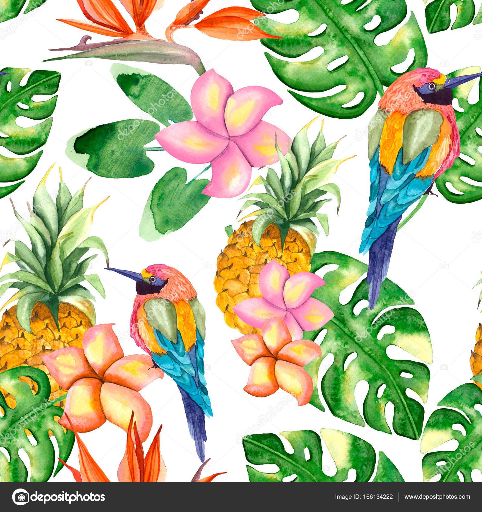 Muster der Vögel, Blumen und Blätter — Stockfoto © Lia.N.P #166134222