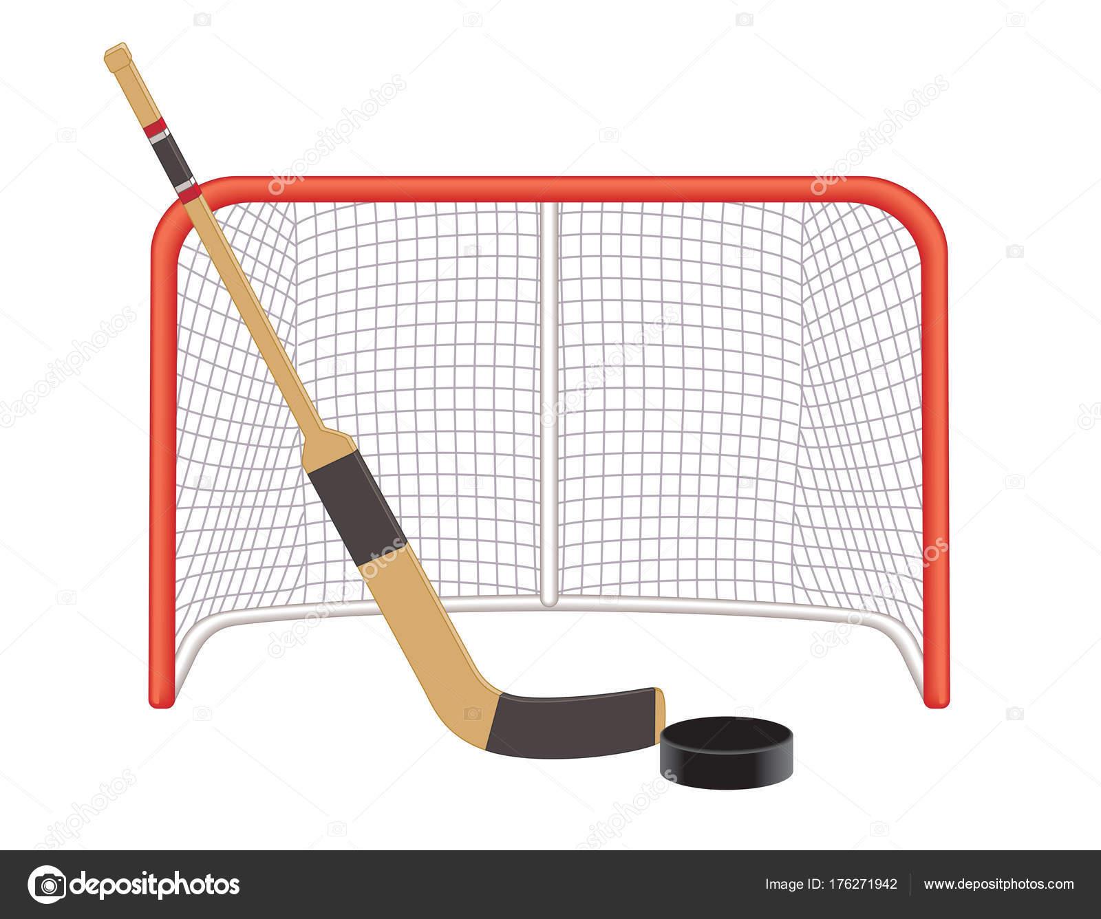 Torwart-Stick-Hockey-Puck und net — Stockvektor © jo@raintreestudio ...