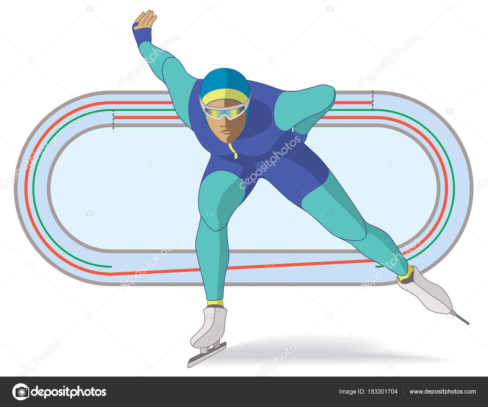 largo pista de patinaje de velocidad, mujer con el diagrama de la ...