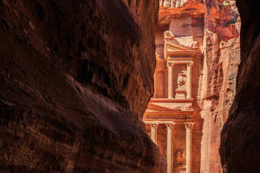 A glimp of the Treasury seen from the siq at Petra the ancient C